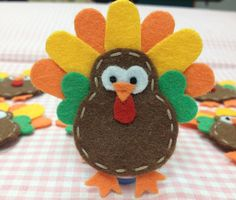 Set of handmade felt turkey-chocolate pumpkin Thanksgiving Crafts For Kids, Holiday Crafts, Thanksgiving Turkey, Finger Puppet Patterns, Felt Finger Puppets, Felt Puppets, Felt Patterns, Handmade Felt, Felt Ornaments