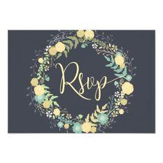 Chalkboard RSVP Cards For Wedding Yellow Wreath