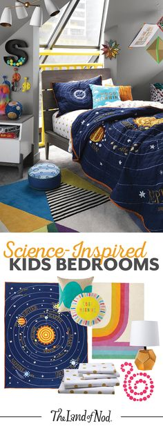We're over the moon for science-inspired kids bedrooms. Start with a solar system printed bedding set—we have a feeling girls and boys alike will love the colorful planets and stars. Then, add a colorful rug and decor to bring this outer space-themed bedr Bedroom Themes, Girls Bedroom, Space Theme Bedroom, Outer Space Bedroom, Bedroom Colors, Bedroom Decor, Science Bedroom, Kids Interior, Inspiration For Kids