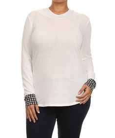 Ivory Houndstooth Hooded Tee - Plus #zulily #zulilyfinds