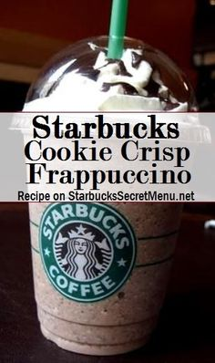 Cookie Crisp frappuccino ★–––––––––––––––––––––––★ Soy milk with a crème base Add 3 pumps of hazelnut syrup (or sugar free hazelnut if you prefer) Add 3 pumps of toffee nut syrup Add java chips Blend with ice and top with whipped cream Starbucks Frappuccino Bottles, Starbucks Cookies, Free Starbucks Drink, Starbucks Secret Menu Items, Starbucks Secret Menu Drinks, Frappuccino Recipe, Starbucks Recipes, Starbucks Coffee, Coffee Recipes