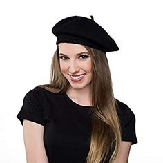 a6f07a8bf81 Kangaroo Wool Black Beret Hat - French Beret Halloween Outfits