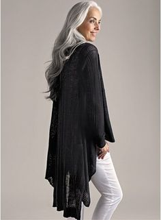 Beautiful long gray hair.