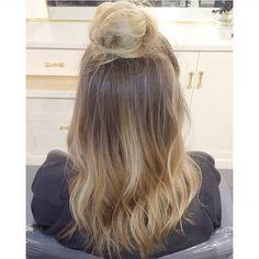 •H I G H L I G H T S• •H A I R C U T• •S T Y L E•  half bun updo with soft waves Hair by me: Tina Tobar 🙋🏼 Appointments: (312)366-2117 Salon: Renee Feldman Salon Chicago: 1006 N Clark