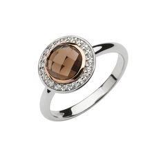 Sterling Silver & Rose gold Halo cz smoky quartz ring rim made from Rare Irish gold Irish Jewelry, Gold Jewelry, Smoky Quartz Ring, Ring Size Guide, Halo, Rose Gold, Engagement Rings, Sterling Silver, House