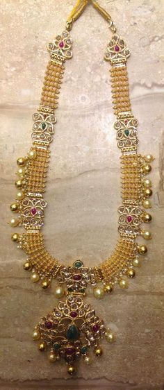 Uncut Diamond Long Chain latest jewelry designs - Page 21 of 59 - Indian Jewellery Designs Pendant Jewelry, Beaded Jewelry, Gold Jewelry, Ruby Jewelry, Jewelry Necklaces, Bridal Necklace, Bridal Jewelry, Gold Necklace, Pearl Necklace Designs