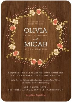 """Beautiful  """"wooden"""" Invites for a Rustic Wedding"""