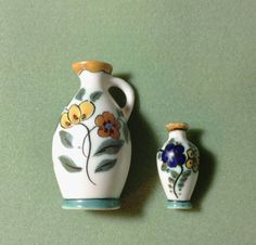 Miniature Gouda hand-painted ceramic pitcher and vase