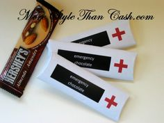 Emergency Chocolate - Free Printable  I have done this for class reunions with all the school and class info on them.  Too cute!