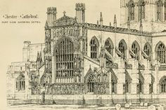 Chester Cathedral - architectural drawing showing the west front, from the restoration plans of architect George Gilbert Scott 1869