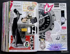 5 x 9 in / 15 x 23 cms. Double-page book spread. Collage on paper. Not digital images at all. Notebook Collage, Collage Book, Book Art, Journal Paper, Art Journal Pages, Junk Journal, Art Journals, Happy Journal, X 23