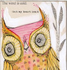 owl art print  pink and yellow warm heartedan archival by corid, $20.00