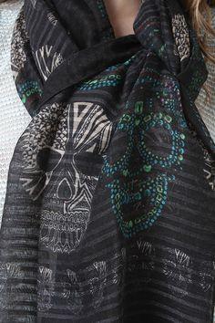 jeweled skulls scarf