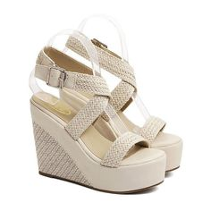 Weaving Cross-Strap Wedge Heel Sandals (48 BGN) ❤ liked on Polyvore featuring shoes, sandals, wedge sandals, wedge shoes, heeled sandals, wedge sole shoes and wedge heel shoes