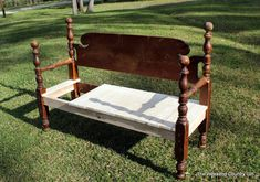 Building Benches from Beds is Sort of Like a Strategy Game – The Weekend Country Girl Mixed Dining Chairs, Shabby Chic Table And Chairs, Leather Dining Room Chairs, Leather Chairs, Fur Chairs, Black Chairs, High Chairs, Bed Frame Bench, Headboard Benches