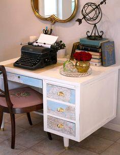Antique world map desk cool home feels pinterest desks chalk paint vintage desk redo in pure white and greek blue gumiabroncs Image collections