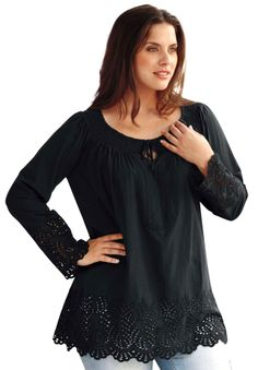 Top in tunic length with pretty cutwork by Ellos® | Plus Size Tops & Tees | Woman Within