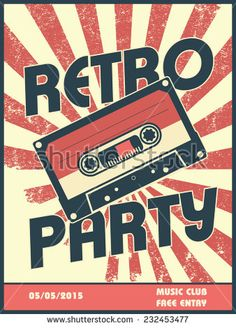 Retro party music poster design with vintage style and equipment. Can be used as flyer, leaflet, cover, advertisement. Eps10 vector illustration