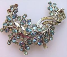 Huge Vtg Crown Trifari Rhinestone Brooch Pin Clear Baguette Blue Pat Pend TLC #CrownTrifari