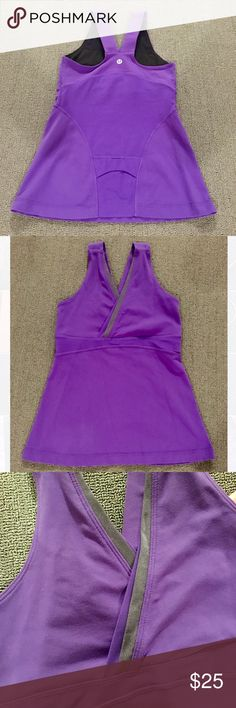 LULULEMON Purple Whisper V Tank Purple and grey lululemon whisper v tank in great condition! Has a pocket in the lower back to carry valuables while exercising. lululemon athletica Tops Tank Tops