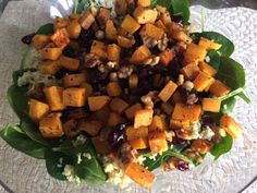 Mystery Lovers' Kitchen: Roasted Squash, Spinach, Walnut, and Cranberry #salad #recipe @lucyburdette #cleansweepweek