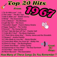 I remember all of them! And I can still sing them! Check out who was none other than Frank & Nancy Sinatra! 60s Music, Music Hits, Music Songs, Hit Songs, Music Stuff, Beatles, Top 20 Hits, The Monkees, Light My Fire