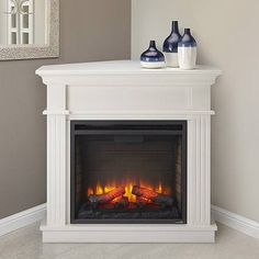 Crestwood Electric Fireplace Mantel Package in White - CRESTWOODC23-WH