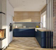 New Kitchen Designs, Kitchen Room Design, Interior Design Living Room, Modern Kitchen Interiors, Contemporary Kitchen Design, Küchen Design, House Design, Open Plan Kitchen Living Room, Blue Kitchen Decor