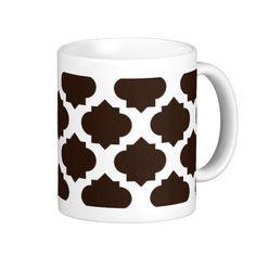 Brown Ornate Pattern Coffee Mugs #mug #brownorantepattern #coffeemug