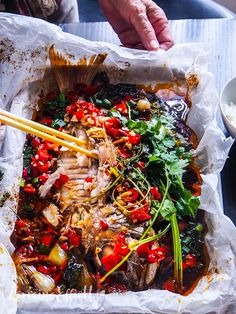 Spicy Paper Bag Baked Whole Snapper Whole Red Snapper Recipes, Whole Fish Recipes, Easy Fish Recipes, Spicy Recipes, Seafood Recipes, Asian Recipes, Cooking Recipes, Asian Whole Fish Recipe, Chinese Recipes