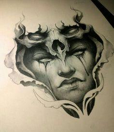 Crewpe woman face and skull tattoo design