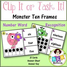 This monster themed ten frame number word recognition Clip It or Task It card set makes for an engaging math center activity for year around fun.  Use this set as clip cards and your students will practice matching the correct number word with the ten frame image on the cards and enhance their fine motor skills at the same time. Just add clothespins and let the fun begin.  Use this set as task cards with the recording sheet and answer key and students can record their answers and self check.