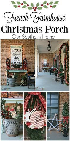 Holiday decorating - exterior porch decorating from french farmhouse / Christmas Front Porch / www.oursouthernho...