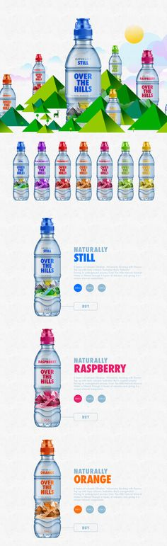 Over the Hills is a line of naturally refreshing mineral water that comes in all different flavors. Studio–JQ worked on the branding and #plastic #packaging #design.