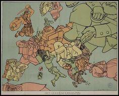 "Cartografia map of World War I in Europe - ""Het Gekkenhuis"" by Dutch cartoonist Louis Raemaekers, 1914 Old Maps, Antique Maps, World War One, First World, Satire, Drawing, European History, Cartoon Shows, Historical Maps"