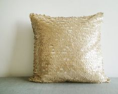 Gold Sequin Pillow Cover in 16 inch Square , Holiday Decor , Throw Pillow , Decorative Pillow
