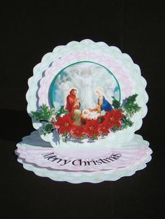 Christmas on doilies small easel card  on Craftsuprint designed by Jolanta Januszewska - made by beverly carmichael - Small but elegant. Printed on to good quality glossy photo paper. Cut out all pieces. Assembled card following directions printed on the sheet, using double sided sticky tape and foam pads. - Now available for download!