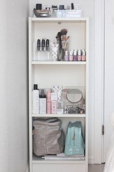"I absolutely love the whole "" bookshelf-in-the-bathroom-for-your-makeup/hair/body-products-thing"""