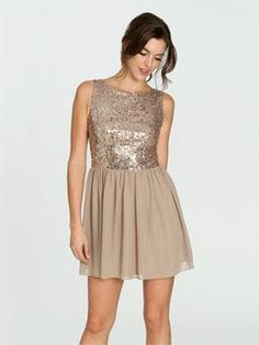 Sequin Chiffon Skater Dress |  Arden B