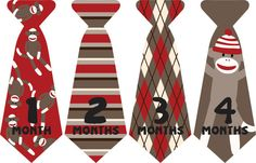 Sock Monkey Monthly Onesie Sticker Ties//Neck by ByDeSIGN12, $8.99