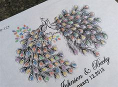 Wedding thumbprint guestbook in the style of two peacocks...