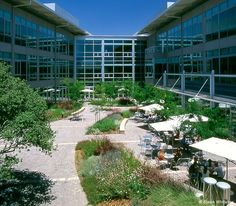 Aspect Communications World Headquarters, San Jose, California: At the heart of the design is a light-filled central courtyard that connects the new, v-shaped building with the existing structure. Delicately balancing intimacy and openness, the design offers an expansive interpretation of the California mission cloister while affirming a revitalized relationship between building and landscape in this benevolent climate.