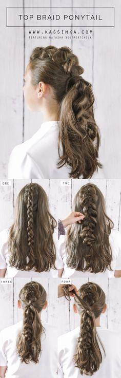 KASSINKA Top Braid Ponytail Hair Tutorial