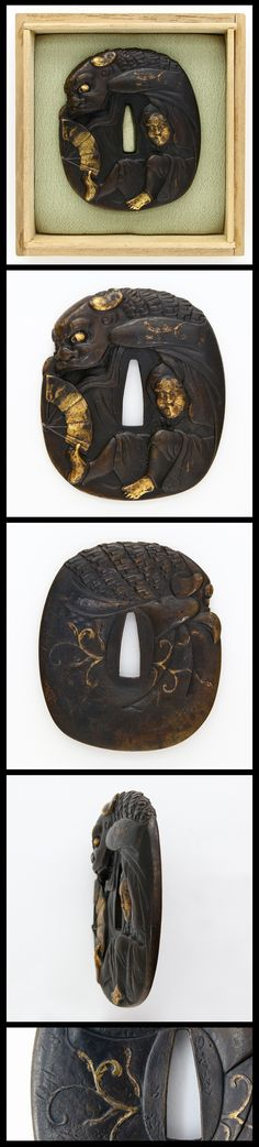 Shishi-mai(Lion dance) is carved into Shakudo Tsuba, and painted with gold.
