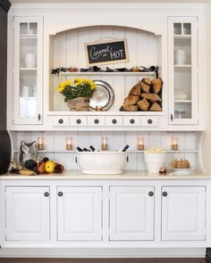 House Tour: DIY Style with Dark Woods & Natural Touches - Cottage style decorating, renovating and entertaining Ideas for indoors and out Large Kitchen Cabinets, Kitchen Hutch, Kitchen Nook, Kitchen Decor, Cupboards, Kitchen Ideas, Painted Hutch, Painted Furniture, Built In Hutch