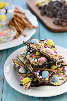 Easter Egg Pretzel Chocolate Swirl Bark