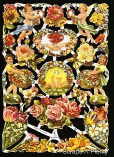 German Victorian Style Embossed Scrap Die Cut - Angels/Flowers/Children EF7022 | Collectibles, Holiday & Seasonal, Other Holiday Collectibles | eBay!