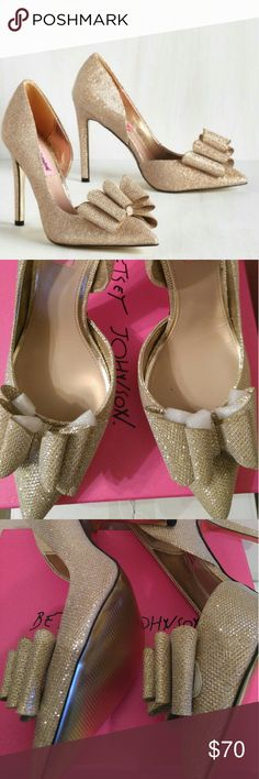 """Betsey Johnson Posey Pump The heels are brand new and never been worn. Glitter fabric upper. D'Orsay styling with oversized bow detail. Pointed toe 4"""" covered heel synthetic sole Betsey Johnson Shoes Heels"""