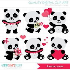 Clipart Panda Loves / Valentines Day Digital by MyClipArtStore Panda Party, Bear Party, Cute Panda Wallpaper, Panda Wallpapers, Panda Birthday, Printed Balloons, Panda Love, Love Valentines, Felt Animals