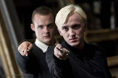Gregory Goyle (Josh Herdman) backs up Draco Malfoy (Tom Felton) in Harry Potter and the Deathly Hallows: Part 2 photo by Jaap Buitendijk) Draco Harry Potter, Draco Malfoy, Harry Potter Deathly Hallows, Harry Potter Universal, Harry Potter World, Harry Potter Characters, Goyle Harry Potter, Harry Harry, Movie Characters